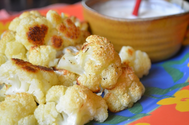 baked cauliflower and tahini yogurt sauce